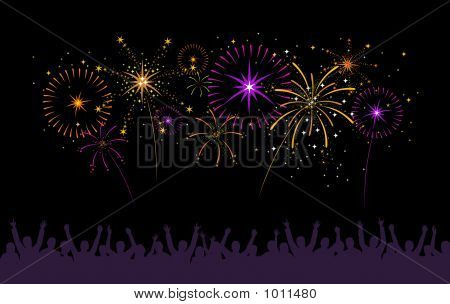 Fireworks With Silhouette Of Crowd