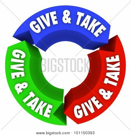 Give and Take words on arrows in an endless cycle or loop of bartering, trading, sharing and compromise in commerce or charity