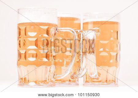 Vintage looking Many large glasses of German lager beer poster