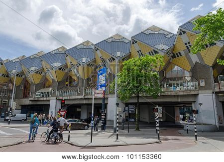 Rotterdam, Netherlands - May 9, 2015: Tourist Visit Cube Houses The Iconic In The Rotterdam