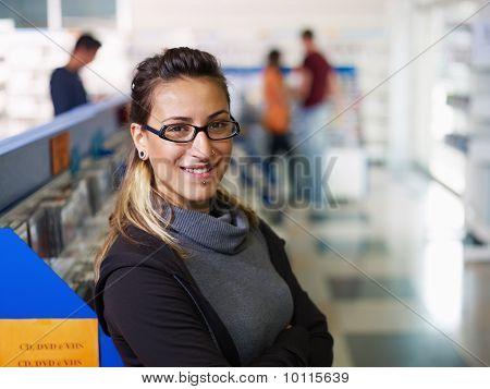 Portrait Of Salesgirl In Cd Store