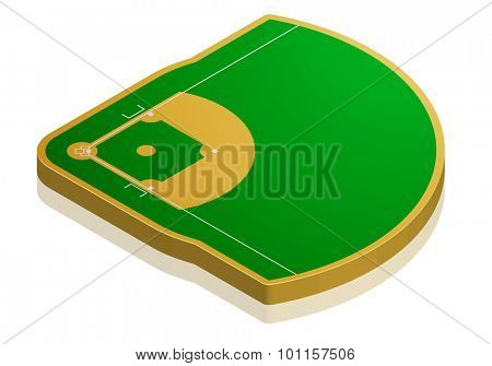 detailed illustration of a baseball field with isometric perspective, eps10 vector