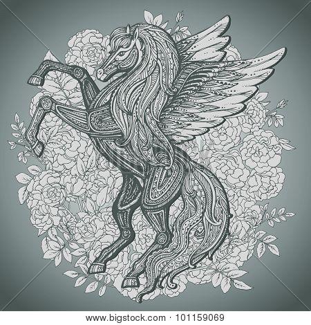 Hand Drawn Pegasus Mythological Winged Horse On Bush Roses Background.