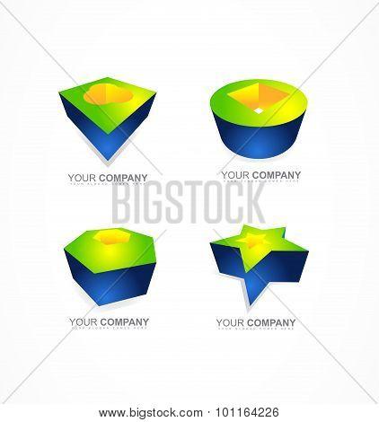 Abstract 3D Logo Shapes Icon Company