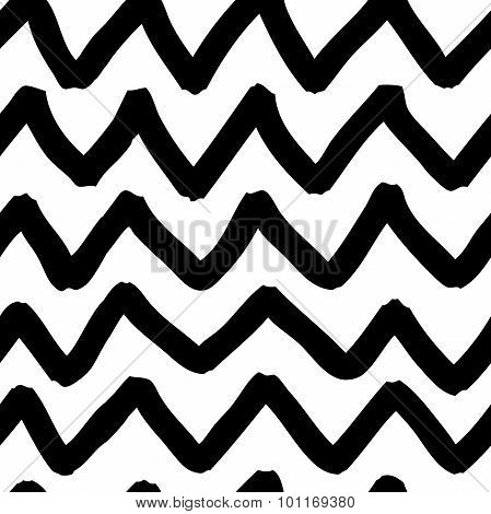 Vector Seamless Doodle Pattern. Abstract Background With Zigzag Brush Strokes.