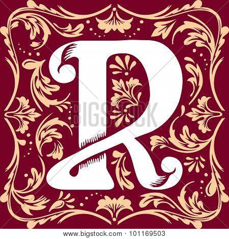 old vintage letter R
