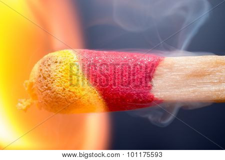 Extreme Macro Of Match Igniting