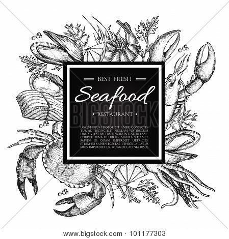 Vector Vintage Seafood Restaurant Illustration.