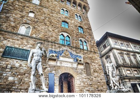 David and Hercules statues in Piazza della Signoria in Florence Italy poster