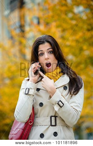 Surprised Woman In Autumn