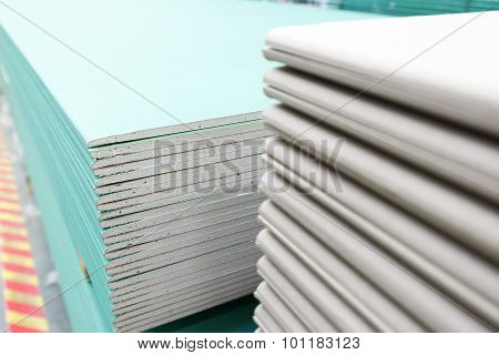 Stack Of Gypsum Board Preparing For Construction