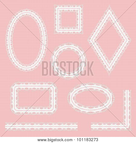 Set Of White Lace Frames Isolated On Pink Background.