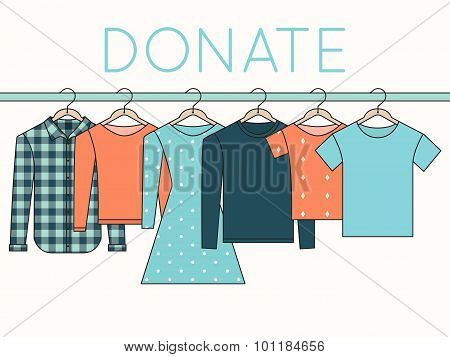 Shirts, Sweatshirts and Dress on Hangers. Donate Clothes Outline Illustration