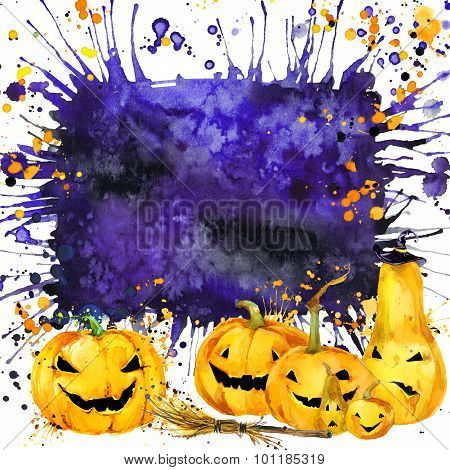 Halloween border for design. Watercolor illustration background for the holiday Halloween. watercolo