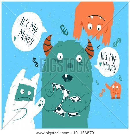Cartoon cute monsters. Greedy monster