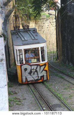 The Arrival Of Lavra Funicular In Lisbon