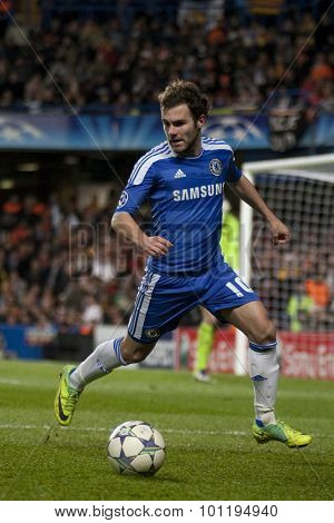 LONDON, ENGLAND. 06 DECEMBER 2011. Chelsea's Spanish midfielder Juan Mata in action during the UEFA Champions League match between Chelsea and Valencia from Spain, played at Stamford Bridge.