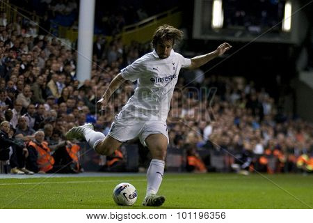 LONDON ENGLAND 25 August 2011. Tottenham's Niko Kranjcar in action during the UEFA Europa league match between Tottenham Hotspurs  from England and Heart of Midlothian  from Scotland.