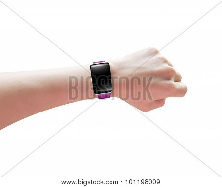 Female Hand Wearing Smartwatch Blank Black Glass Bent Touchscreen
