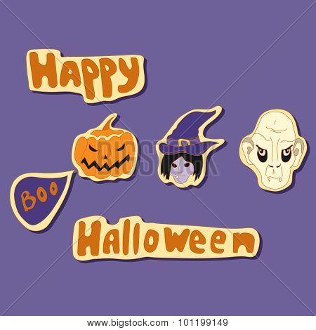 happy halloween elements vector set