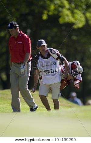 WENTWORTH, ENGLAND. 23 MAY 2009.David Howell and his caddy Nick Mumford during the 3rd round of the European Tour BMW PGA Championship.