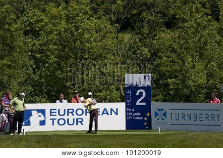 KENT ENGLAND, 30 MAY 2009. Anders HANSEN (DEN) playing in the third round of the European Tour European Open golf tournament.