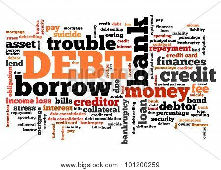 Debt keywords - finance issues and concepts tag cloud illustration. Word cloud collage concept. poster