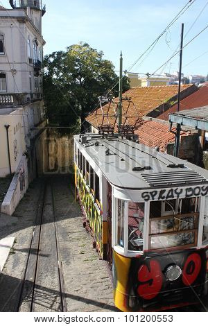 End Of The Route Of Lavra Funicular In Lisbon