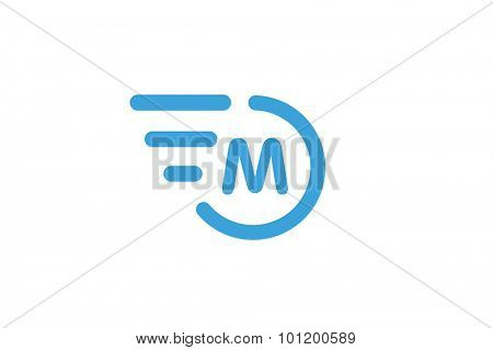 Fast line circle logo. M rings monogram. Vector M circle. Circle O and M letter design. Abstract M letter. Round rings. Ring circle symbol. Thin line circle.  Transport car circle icon