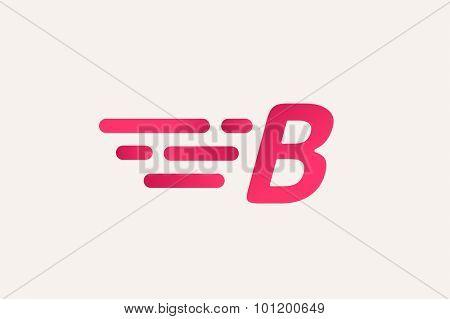 Fast line B letter line logo. B and lines monogram. Vector B line letter. B letter design. Abstract B letter. Round lines. B line symbol. Thin line style. Transport delivery B motion icon