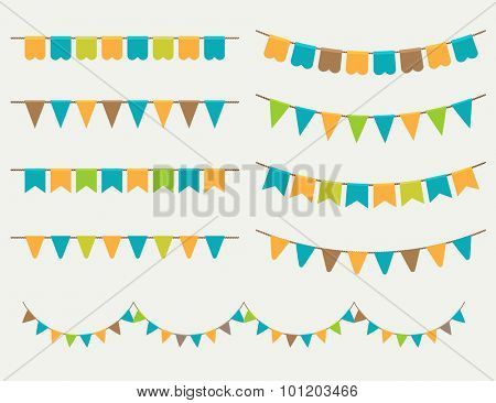 Vector Illustration of colorful flag carlands on grey background. Retro colors buntings and flags. Holiday set.