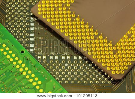 Inside of computer - motherboard semiconductors and electronics