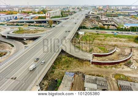 Aerial view of highway interchange of modern urban city
