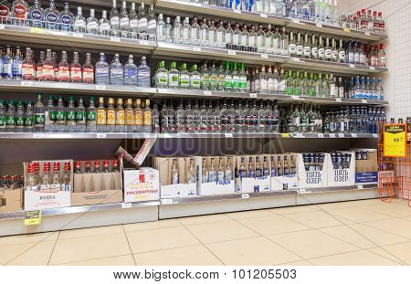 Showcase Alcoholic Beverages At The Supermarket Dixi In Vyborg, Russia