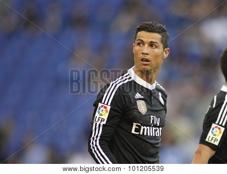 BARCELONA - MAY, 2015: Cristiano Ronaldo of Real Madrid of during a Spanish League match against RCD Espanyol at the Power8 stadium on Maig 17 2015 in Barcelona Spain