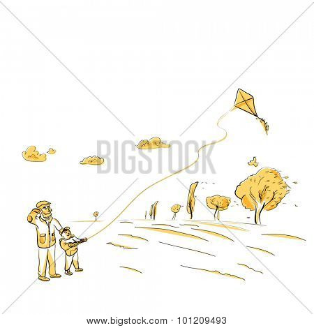 Father and son flying kite, autumn vector illustration