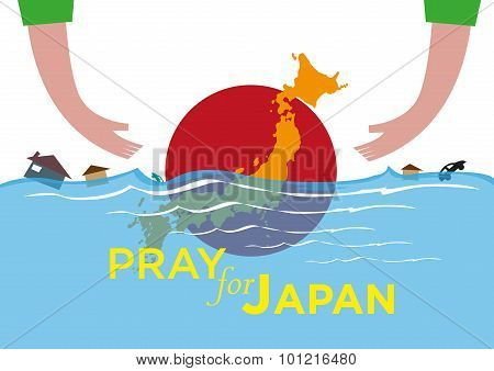 Hands Extend to help or Rescue. Pray for Japan Natural Disaster Concept. Flood and Tsunami. Vector Editable Clip Art and Jpg Available. poster