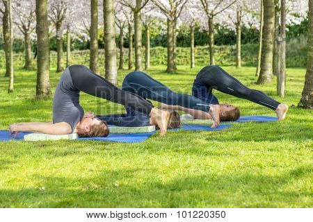 Girls doing Halasana, the plow pose in yoga, in a spring park