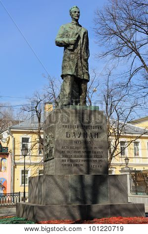Monument to the Russian revolutionary and Bolshevik Nikolay Bauman in Moscow