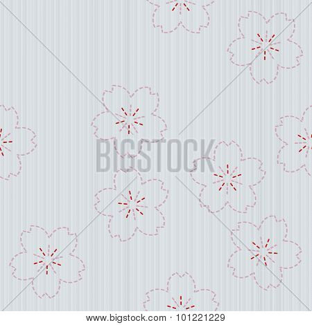 Classic japanese quilling. Sashiko with sakura flowers. Seamless pattern.
