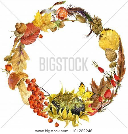 Autumn watercolor floral background circle from colorful leafs, fruit, berries, mushrooms, yellow le