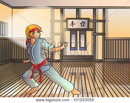 Vector Anime Karate Girl