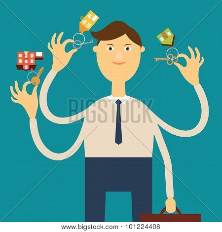 Multi-armed agent real estate holding keys with key fobs in the