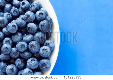 Blueberries In White Bowl On Colorful Blue Backround