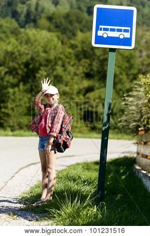 School Girl With White Hat ,waiting Bus