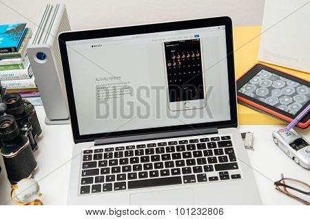 PARIS FRANCE - SEP 10 2015: Apple Computers website on MacBook Pro Retina in a creative room environment showcasing the newly announced Activity history in WatchOS 2