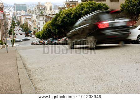 Motion Blur Of Car Braking On Steep San Francisco Street