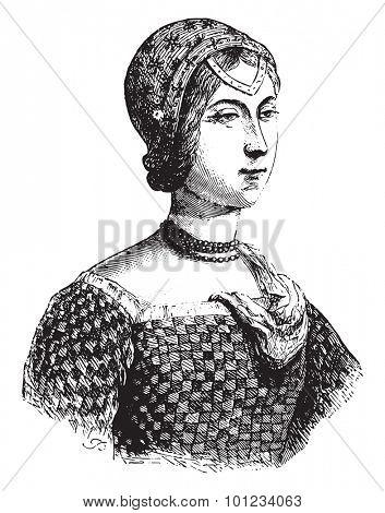 Portrait implies Laure Noves, called the beautiful Laure, vintage engraved illustration.