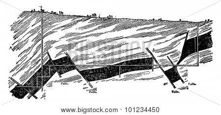 Section of the coal seam Montceau-les-Mines, a line parallel to the direction of the tilt, vintage engraved illustration. Earth before man â?? 1886.