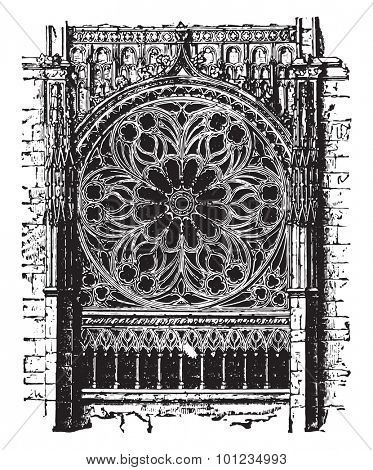 Rose of the cathedral of Rouen, the fourteenth century, vintage engraved illustration. Industrial encyclopedia E.-O. Lami - 1875.